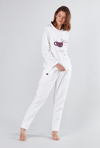 Embroidered Long Sleeves T-shirt and Full Length Pyjama Set