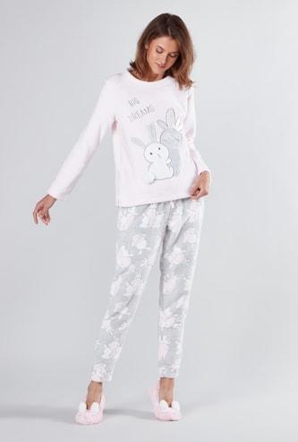 Textured Round Neck Sweater and Full Length Pyjama Set