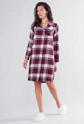 Chequered Sleep Dress with Long Sleeves and Chest Pocket