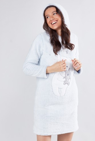 Textured Sleep Dress with Drawstring Hood