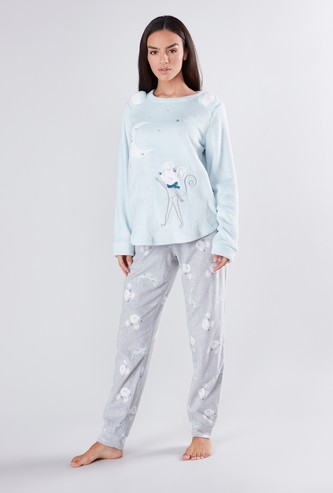 Embroidery Detail Long Sleeves T-shirt and Pyjama Set