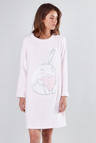 Embroidered Sleepdress with Round Neck and Long Sleeves