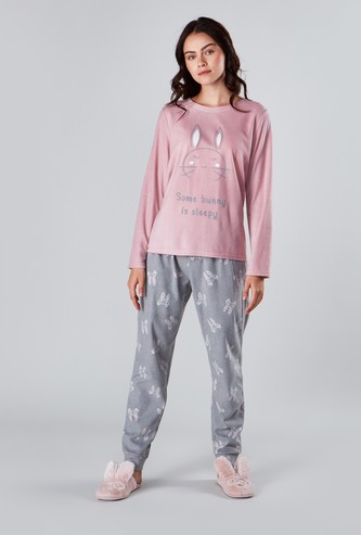 Printed Round Neck T-shirt and Full Length Jog Pants Set
