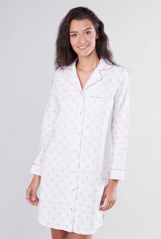 Set of 2 Printed Sleepshirts with Patch Pocket