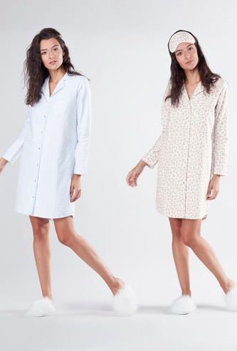 Set of 2 - Printed Sleep Dress with Long Sleeves and Complete Placket
