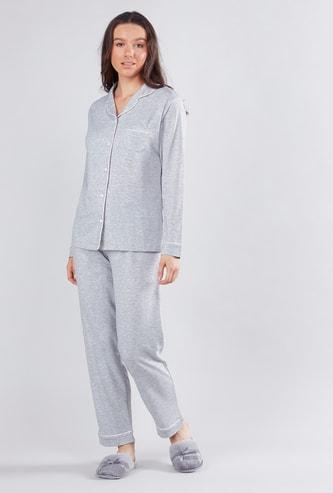 Plain Shirt and Full Length Pyjama Set