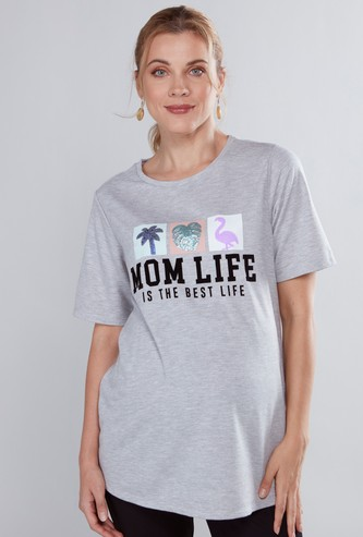 Maternity Sequin Detail T-shirt with Round Neck and Short Sleeves