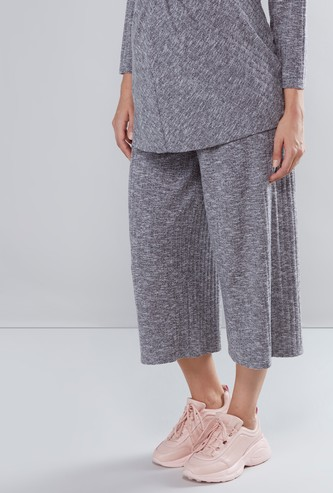 Maternity Ribbed High-Rise Culottes
