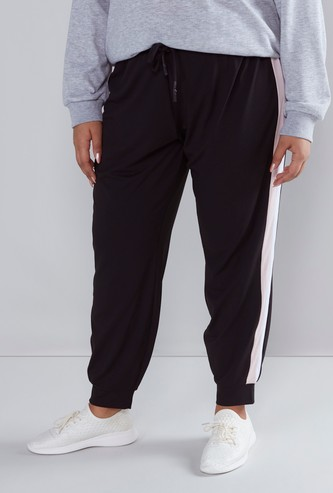Solid Jog Pants with Side Stripes and Drawstring