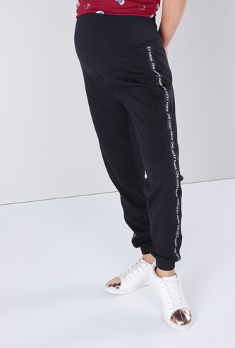 Maternity Full Length Mid Waist Jog Pants with Printed Tape Detail