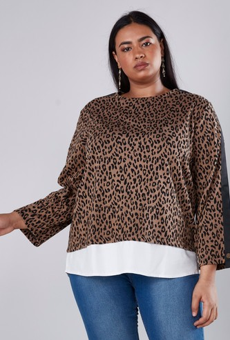 Animal Printed T-shirt with Long Sleeves and Tape Detail