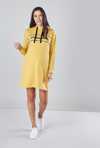 Maternity Printed Midi Dress with Hood and Long Sleeves