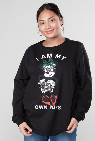 Minnie Mouse Printed Sweatshirt with Round Neck and Long Sleeves