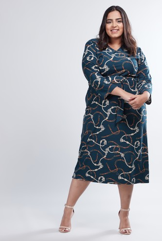 Printed Midi Wrap Dress with 3/4 Sleeves and Tie Up Detail