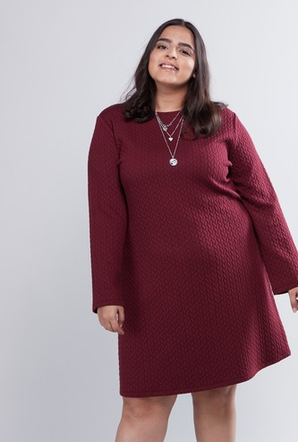Textured Midi Length A-line Dress with Round Neck and Long Sleeves