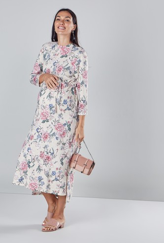 Floral Printed Maternity Maxi Dress with Round Neck and Long Sleeves
