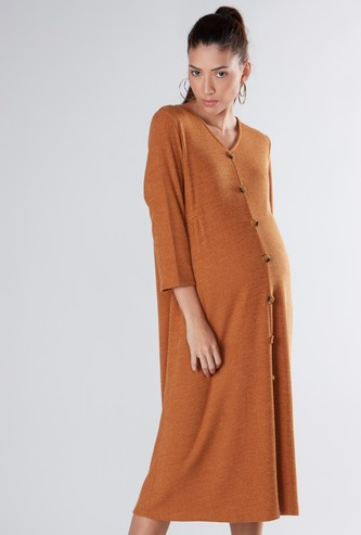 V-neck Maternity Midi Shirt Dress