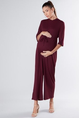 Maternity Textured Maxi Jumpsuit with Tie Ups and 3/4 Sleeves