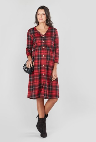 Maternity Chequered A-line Midi Dress with 3/4 Sleeves