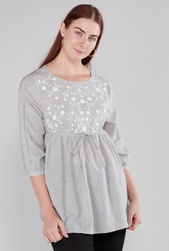 Maternity Embroidered Top with 3/4 Sleeves and Tie Ups