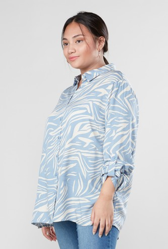 Animal Print Shirt with Long Sleeves and Curved Hem