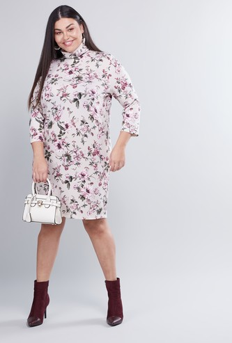 Floral Printed Midi Shift Dress with High Neck and Long Sleeves