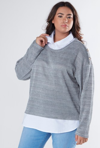 Textured Twofer Sweater with Long Sleeves and Button Detail