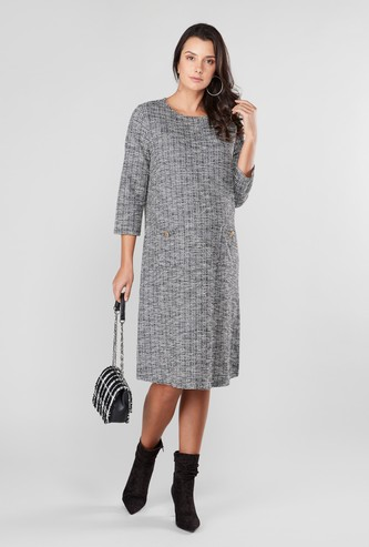 Maternity Textured A-line Midi Dress with Pocket Detail