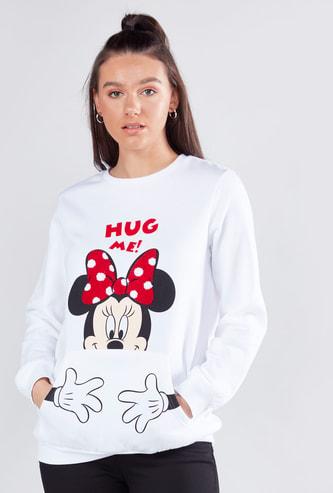 Mickey Mouse Printed Sweatshirt with Long Sleeves and Kangaroo Pockets