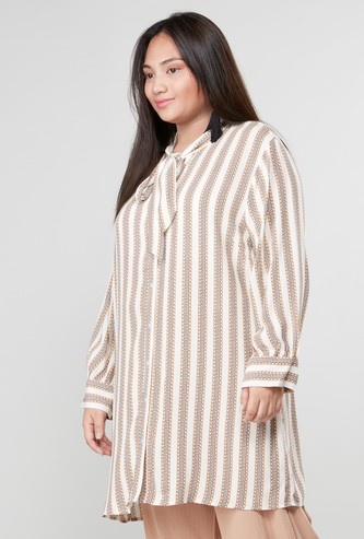 Printed Tunic with Pussy Bow and Long Sleeves