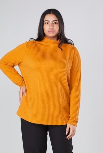 Textured T-shirt with Turtleneck and Long Sleeves