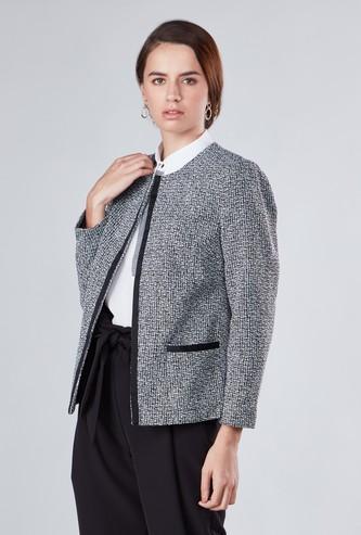 Texured Jacket with Long Sleeves and Pocket Detail
