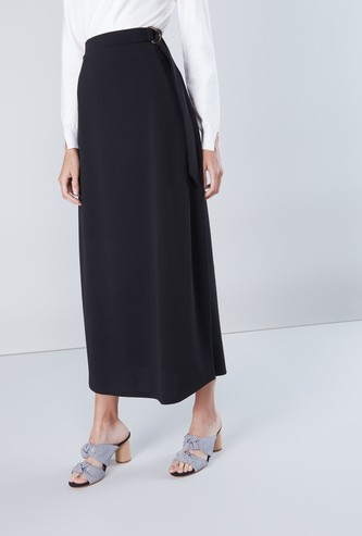 Solid A-line Maxi Skirt with Belt Accent