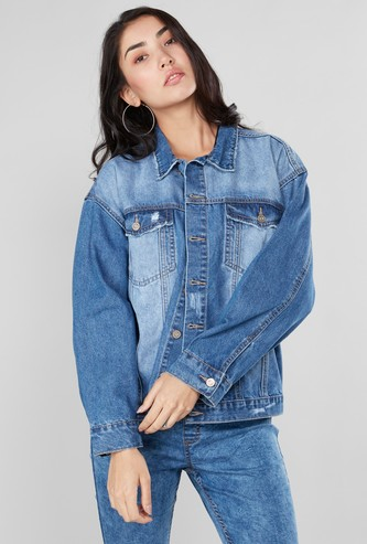 Oversized Denim Jacket with Long Sleeves