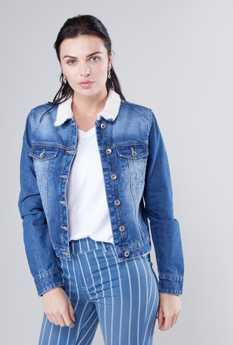 Textured Denim Jacket with Long Sleeves and Button Closure