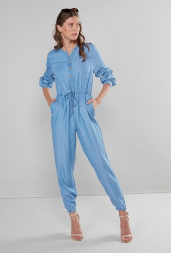 Denim Round Neck Jumpsuit with Front Knot Styling
