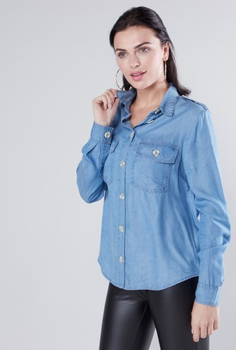 Textured Denim Shirt with Collar and Long Sleeves