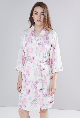 Floral Printed Night Robe with 3/4 Sleeves and Tie Ups