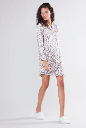 Animal Print Mini Sleep Dress with Long Sleeves