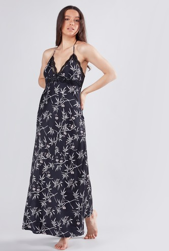 Printed Maxi Sleeveless Dress with V-neck and Lace Detail
