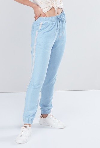 Full Length Mid Rise Jog Pants with Tape and Pocket Detail