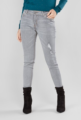 Skinny Fit Ripped Detail Jeans with Button Closure