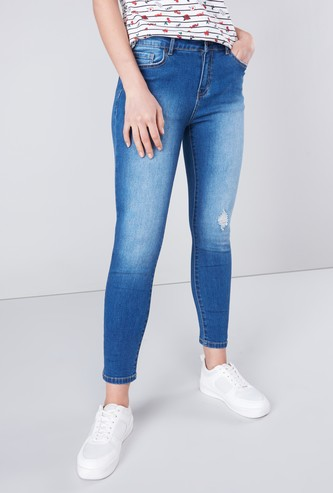 Distressed Skinny Fit Jeans with Pocket detail and Belt Loops