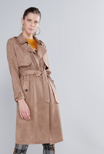Textured Trench Coat with Collared Neck and Long Sleeves