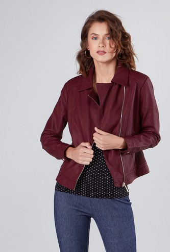 Plain Biker Jacket with Long Sleeves and Pockets
