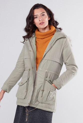 Plush Detail Parka Jacket with Pockets and Hood