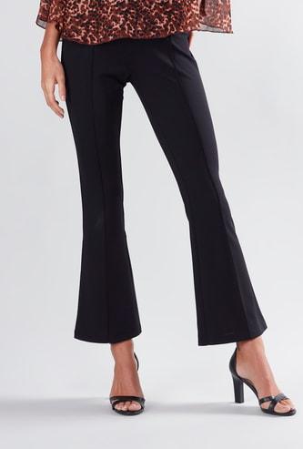 Plain Full Length Bell Bottom Ponte Pants