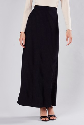 Textured A-line Maxi Skirt with Elasticised Waistband