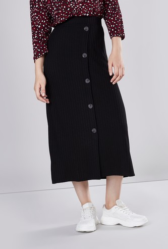 Ribbed Midi Skirt with Elasticated Waistband and Button Detail