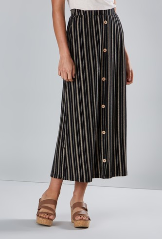 Striped Midi A-line Skirt with Elasticated Waistband and Button Detail